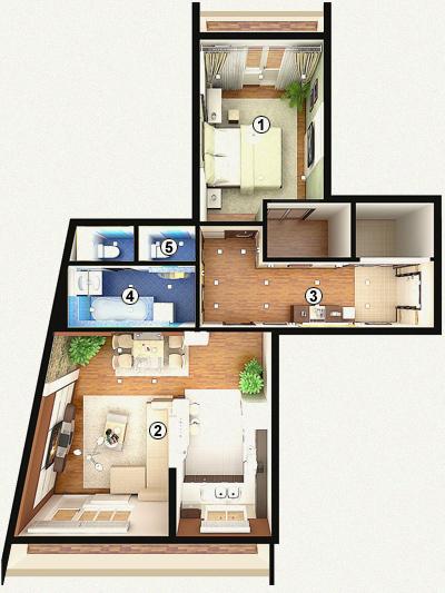 Фото дизайна 2-х комнатной квартиры 60 кв.м